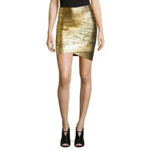 New BCBG Max Azria Gold Foiled Bandage Mini Skirt